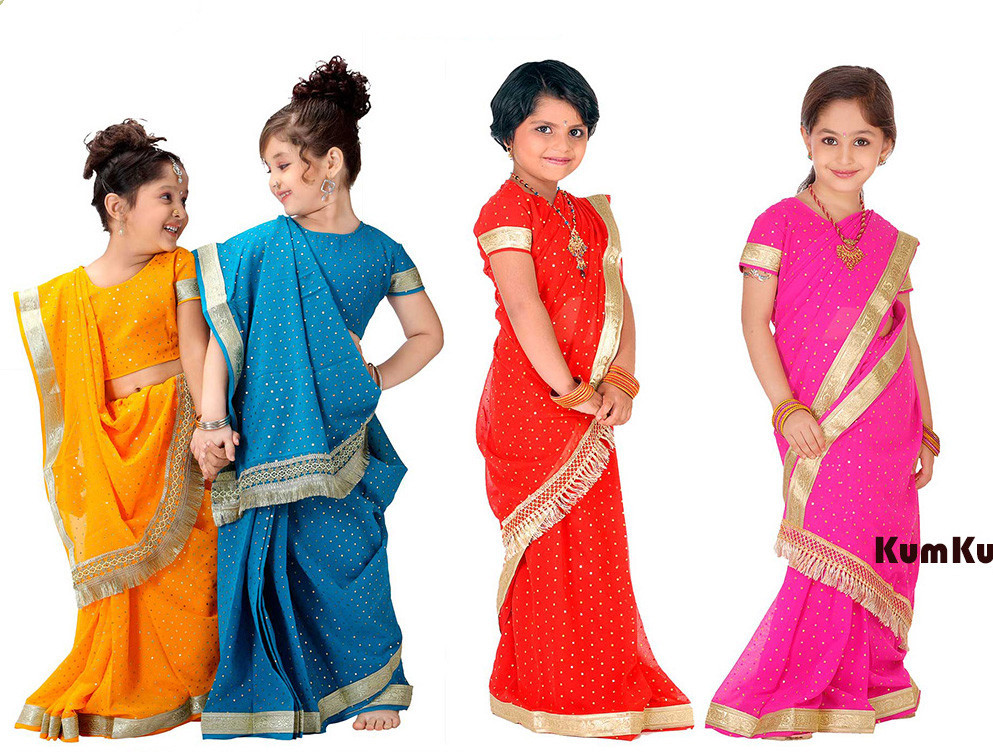 National Indian Clothing Children Sari Dress Classic Georgette Paillette Kids Saree 8Sizes Free Shipping(China)