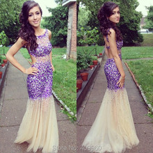 Tank Boat Neck Sweetheart Natural Sheer Waist Shiny Diamonds Mermaid Trumpet Fashion Lavender Prom Dresses Hot Sale 2015