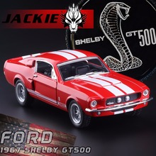 New KiNSMART 1/38 Ford 1967 Mustang Shelby GT500 alloy car model with pull back car for children's toys gifts Free Shipping