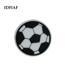IDFIAF 1pcs black Embroidered football Iron On Patches for Clothes Appliques Sew On Motif Badge DIY Clothing Bag