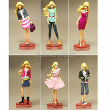 Free Shipping 6 pieces/set  fashion princess doll Toys Doll Figure bulk packing model gift for kids