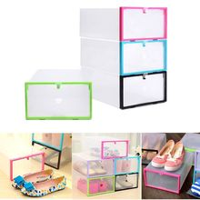 Transparent Drawer Case Plastic Shoe Boxes Storage Organizer Stackable Box(China)