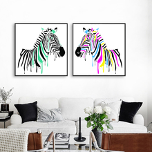 Unframed 2 Style Watercolor zebra Can Choose Canvas Art Print Painting Poster Wall Art Picture For Living Room Home Decor LZ629