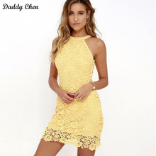 Buy 2018 Women Sexy summer bodycon dress halter Short Sleeveless Elegant zippers pink black white Lace open back night club dresses