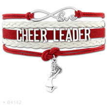 (10 PCS/Lot) Infinity Love Cheerleader Megaphone Cheer Coaches Mom Nana Charms Bracelets For Women White Blue Leather Bracelets