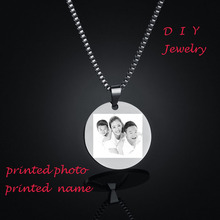 Personalised Gift 316L Stainless Steel Custom Name Photo 3 Color Round  Dog Tag Pendant Necklace Customized Necklace