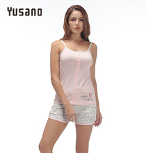 Yusano 2017 Unicorn Pajamas Set for Women Grey Pink Camisole Sleeveless Sleepwear Sexy Print Buttom Tops+Shorts Sleep Nightwear(China)