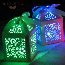 10pcs Kraft DIY Waterproof Mini Led Party Lights Laser Paper Candy Box Chocolates Bags Gifts bag Wedding Party birthday Favors