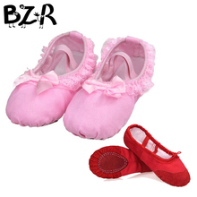 Bazzery Ballet Dance Dancing Shoes Pointe For Children Lace Girls Women Soft Flats Shoes Breathable Slippers Size 26 to 40(China)