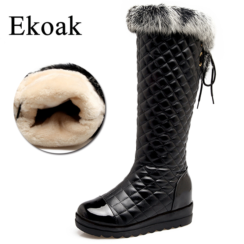 Ekoak Rabbit Fur Women Knee High Boots Warm Plush Snow Boots Shoes Woman Fashion Winter Boots Ladies Lace-Up Platform Boots<br>