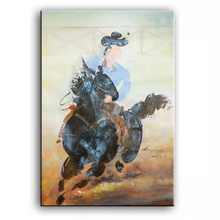 painter original paintings decoration painting Custom-made oil painting Original oil painting horse racing 16111301(China)