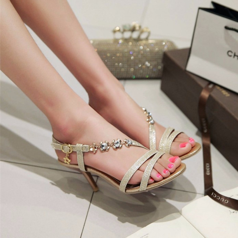 Lady elegant sexy big size 4-17rhinestone peep toe PU buckle strap thin high heels women shoes pumps sandals girls summer style<br>