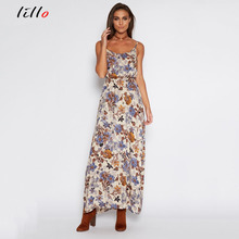 2017 summer dress Europe and the United States new sling Printed dress Women's clothing Halter dress Fashion beach dress women(China)