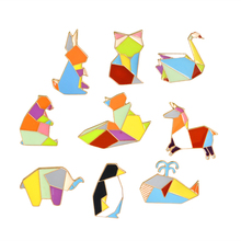 9 piece Origami Animal Pins Set Whale Fox Squirrel Penguin Horse Rabbit Swan Brooch Jacket Collar Badge Pin Button Jewelry Gift(China)