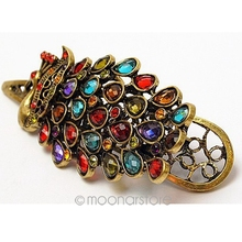 Peacock Colorful Crystal Decoration Hair Clip Women Retro Antique Hairpin Lady Hair Organize Band Pin(China)