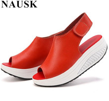 NAUSK 2017 Summer Women Sandals Casual Peep Toe Swing Shoes Ladies Platform Wedges Sandals Walk Shoes Woman Sandalias Leather