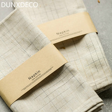 DUNXDECO Table Placemat Tea Towel Napkin Linen Look Tablecloth  Modern Check Fabric Desk Accessories Home Decor