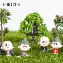 4Pcs/lot Kawaii Cute Grandfather Grandmother Old Couple DIY Crafts Home Garden Decoration Ornaments Micro Landscape Hot