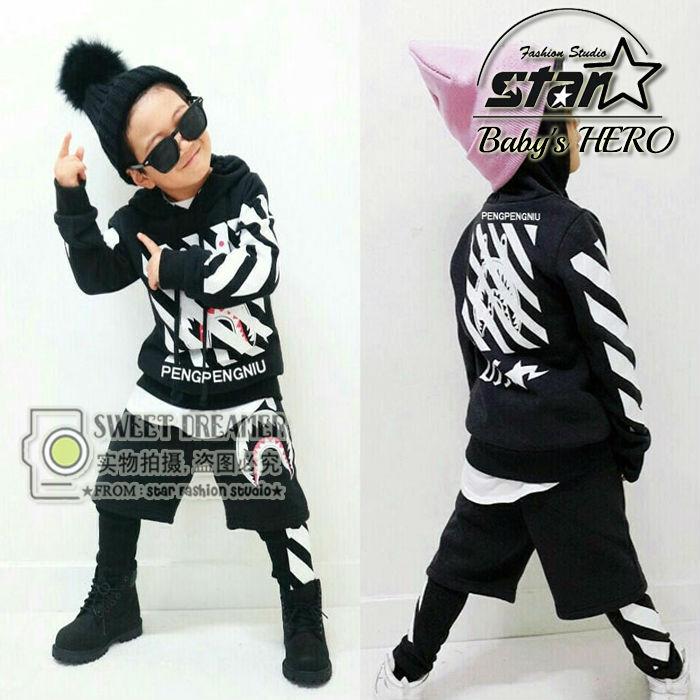 Fashion Spring Autumn Childrens Clothing Set Black Costumes Kids Sport Suits Patchwork Hip Hop Dance Pant &amp; Sweatshirt <br>