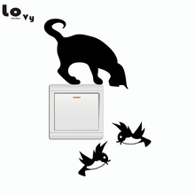 The Cat Catches The Birds Light Switch Sticker Funny Cartoon Animal Vinyl Wall Stickers Home Decor(China)