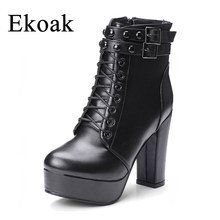 Ekoak New Rivets Ankle Boots for Women Ladies Autumn Boots High Heels Black  Double Buckles Leather 12032e1bc820