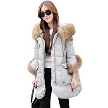 2017 Winter Women's Coat Fashionable New Products Clothes Clothes High Quality Hair Collar Han Version Thick Loose Nine-sleeved(China)