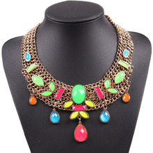 2017 Latest Fashion Gold Color Chain Colorful Flower Neon Statement Necklace Fluorescence  Jewelry For Europe Market Wholesale