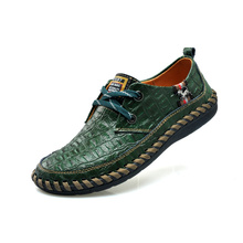 New Crocodile Pattern Men Flats Shoes Genuine Leather Male Loafers Lace-up Breathable Fashion Pigskin Inside Wide Size 28-66(China)