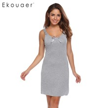 Ekouaer Fashion Slim Nightwear Women Spaghetti Strap Sleeveless Solid Nighties Sleepwear Summer Casual Bow Sleepwear(China)