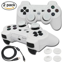 blueloong 2pcs White and White Color Wireless Bluetooth Joystick Gamepad For Playstation 3 PS3 Controller + Free Shipping(China)