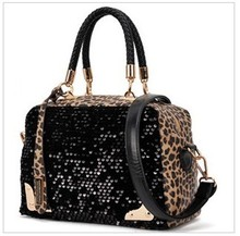 2013 new handbags wholesale sequins package Leopard indentation bronzing box shoulder pack free a generation of fat