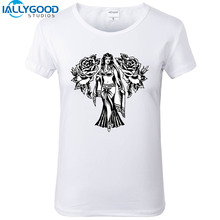 New Summer Fashion The Rose Queen T Shirt Women Cool Tattoo Design Printed T-Shirts Soft Cotton Short sleeve White Tops S1459