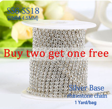 Free shipping 2mm-4.5mm 1yard/bag Crystal glass silver base encryption rhinestone chain Selling at a loss