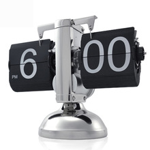 Free Shipping 1Piece Retro Auto Number Flip Down Clock For Office Decoration Desk Clock Small Scale Desktop Clock in stock(China)