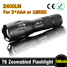 E17 CREE XM-L T6 2400Lumens cree led Torch Zoomable cree LED Flashlight Torch light For 3xAAA or 1x18650 Free shipping(China)