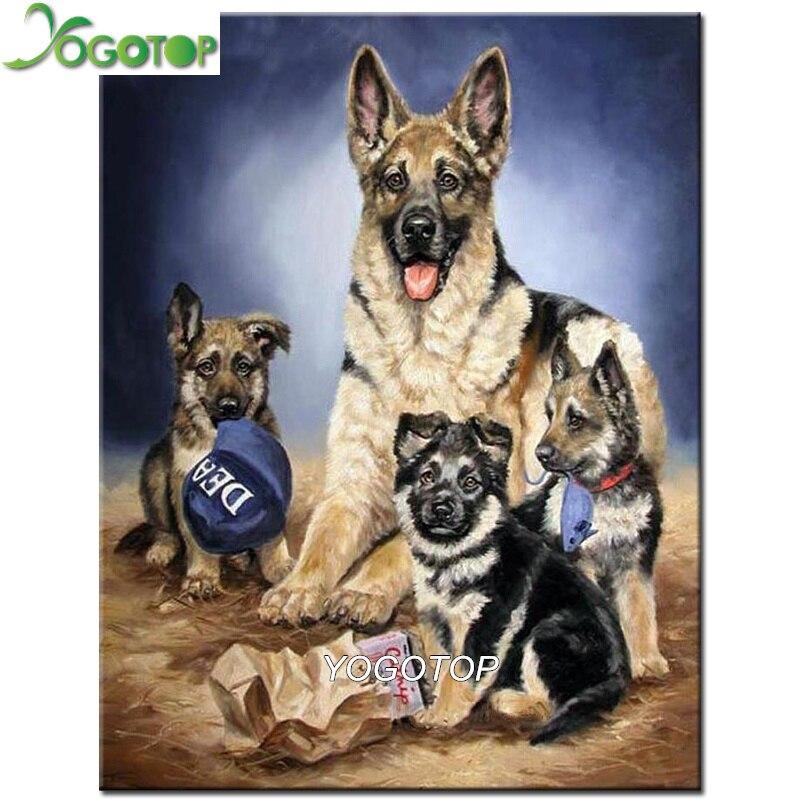 (24x24cm)German Shepherd Dog,5d DIY Diamond Painting Angel Dog Full Square Crossstitch Diamond Embroidery Rhinestones Mosaic Embroidery Kit