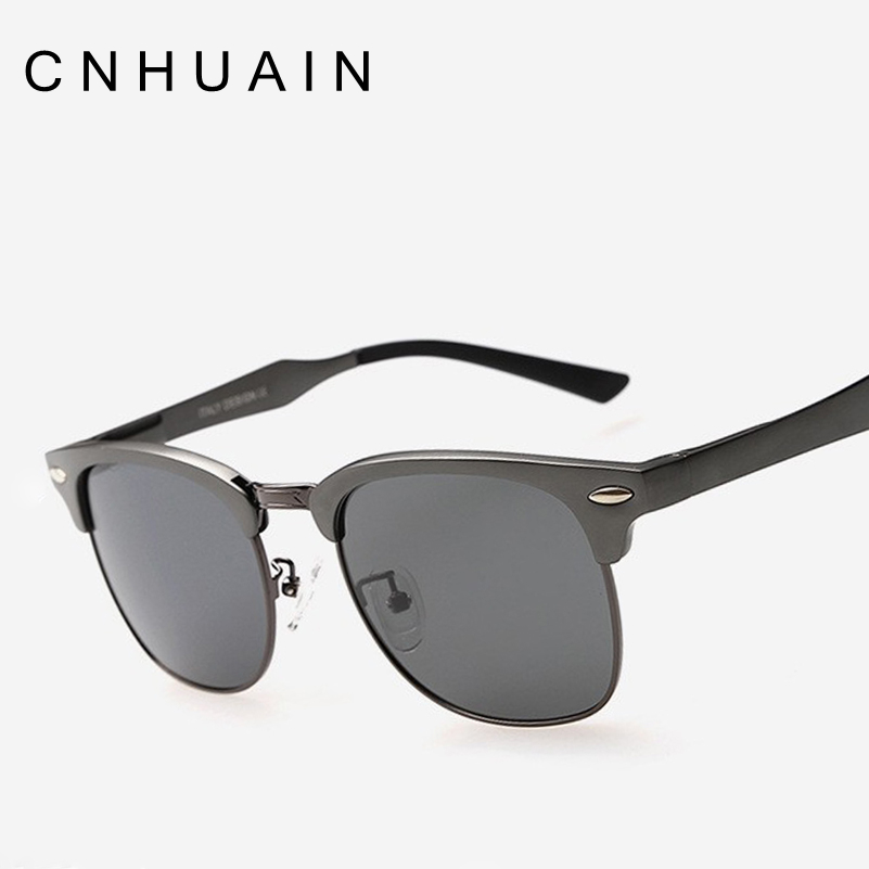 CNHUAIN Grade Aluminum Magnesium Half Frame Polarized Sunglasses Men Brand Designer Driving Sun Glasses For Women Oculos Female<br><br>Aliexpress