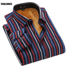 PaulJones BN311x 2017 Autumn Men Velvet Long Sleeve Thermal Striped Shirt Male Warm Cheap China Quality Fashion Casual Clothes