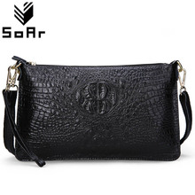 SoAr Women Bag Genuine Leather Crocodile Pattern Handbags Women Messenger Bags Crossbody Female Small Shoulder Bag Clutch Brand(China)