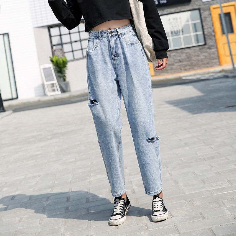 2019 Fashion Women Ripped Jeans Casual Look Denim Loose Jeans Pants High Waist Trousers Vintage Holes Chic New Jeans Plus Size