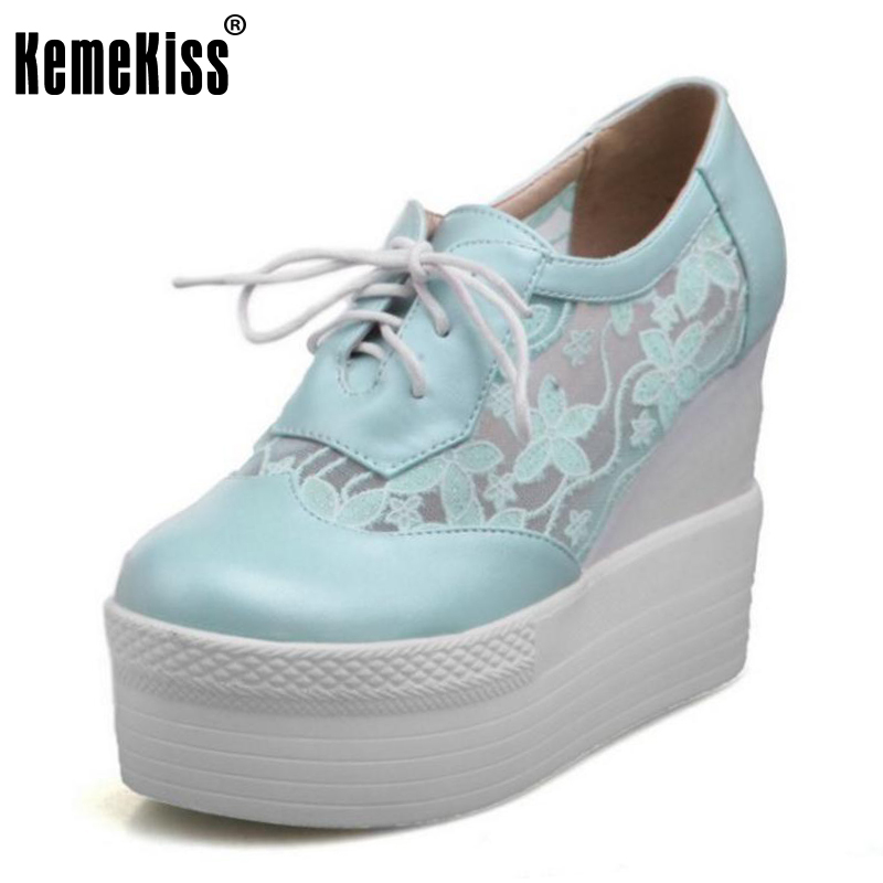 KemeKiss Size 32-43 Womens High Heel Shoes Women Wedge Cross Strap Platform Pumps Ladies Round Toe Lace Trifle Casual Shoes<br>
