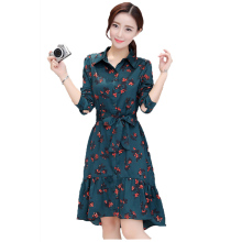 Women Spring Summer Dresses Cat Footprints Pattern Show Thin Lady Chiffon Dress Cat Footprints Dress With Belt High Quality 1L70