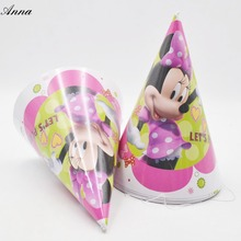 6pcs/bag minnie mickey mouse Caps Theme Party For Kids/Boys Happy Birthday Decoration Theme Party Supply minnie party supplies(China)