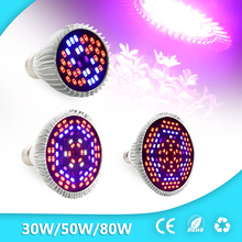 30W/50W/80W Led Grow Light Full Spectrum UV+IR E27 Grow Light For Flowering Plant and Hydroponics System LED Lamp AC85~265V(China)