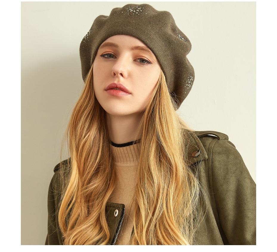 VIANOSI Wool Beret Female Winter Hats For Women Flat Cap Knit Cashmere Hats Lady Girl Berets Hat Female 5