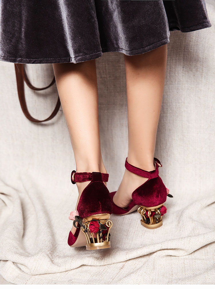 Shop cheap sale Ankle strap buckle bird cage flower heel velvet mary jane Shoes