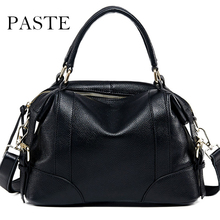 Paste Brand Causal Shoulder Bag Women's Genuine Leather Handbag Cowhide Large Crossbody Bag Ladies Leather Classical Tote(China)
