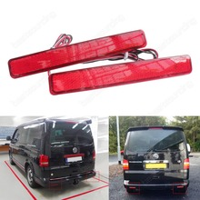 2 VW T5 Transporter / Caravelle / Multivan 2003-11 Multivan Red Rear Bumper Reflector LED Tail Stop Light(CA243)(China)