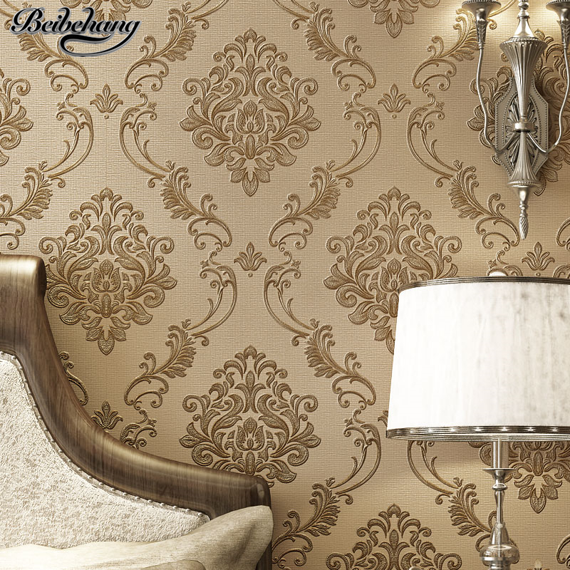 beibehang wall paper Luxury Continental Damascus Carved Nonwoven Wallpaper Living Room Wall Restaurant Wallpaper papier peint<br>