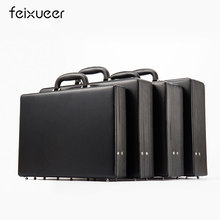feixueer Top Bonded Leather Suitcase Men's Laptop Case Black Document Bag Briefcase Business Password Cash Case Carry-Ons Women